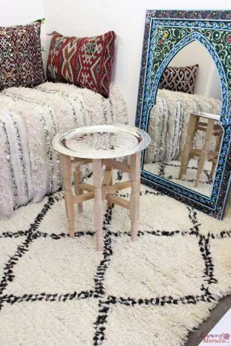 Moroccan Tray Side Table Small Silver Maillechort with Cedar Wood Legs Handmade Hand Engraved  40 CM / 15.7''  (Ref. TST1)